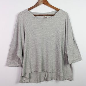 Free People Gray Thermal Top Size S Waffle Knit